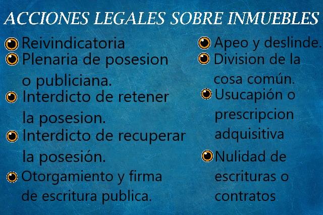 bienes inmuebles acciones legales