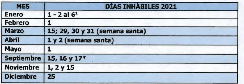 dias inhabiles del tribunal cdmx