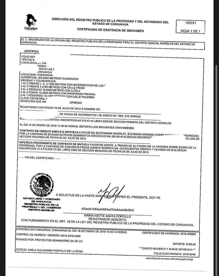 certificado de gravamen