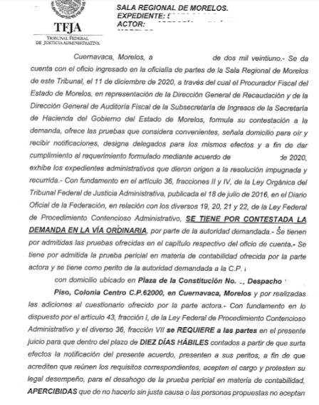 auto de admisión de contestación ante el Tribunal Federal de Justicia Administrativa