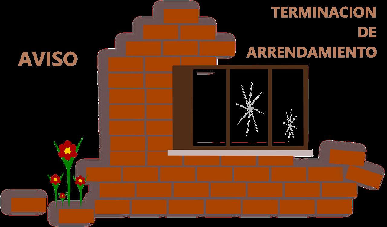 FACHADA DE CASA INCOMPLETA. AVISO DE TERMINACION DE ARRENDAMIENTO