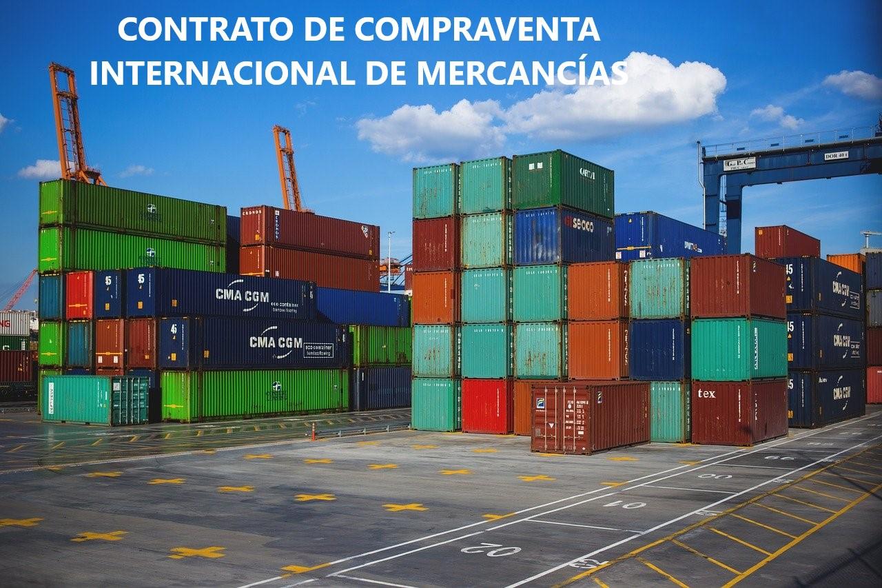 contrato de compraventa internacional de mercancias. Puerto con cajas de embarque.