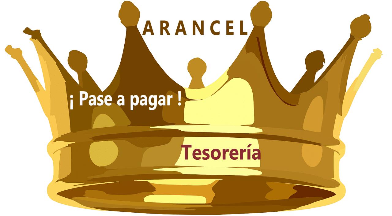 corona de rey Leyenda PASE A PAGAR a TESORERIA arancel