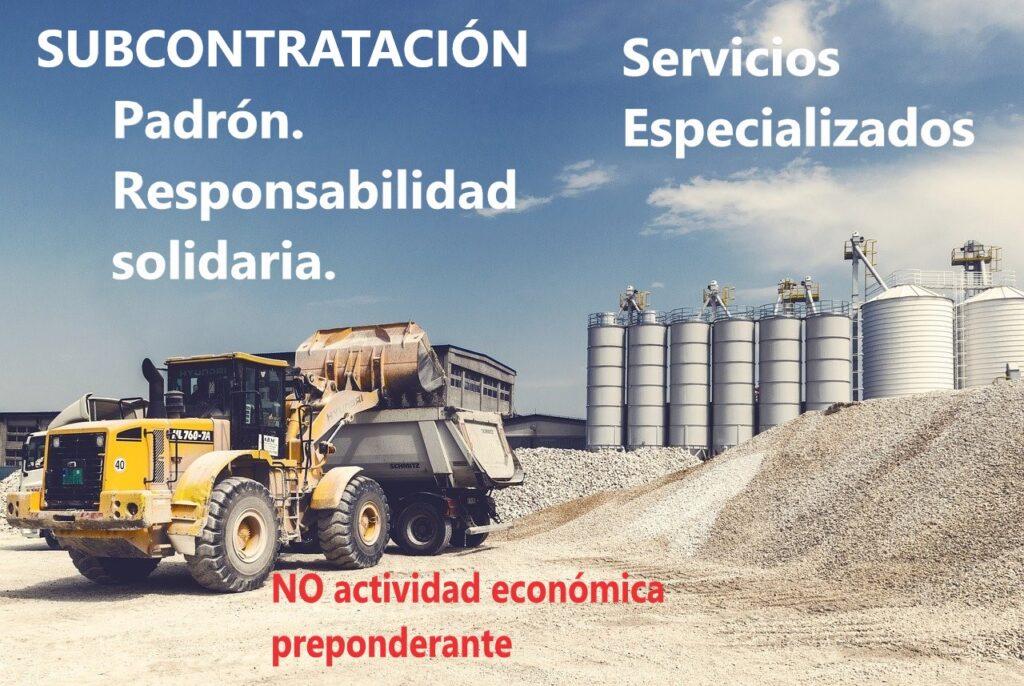 subcontratación u outsourcing. Camiones de carga trabajando