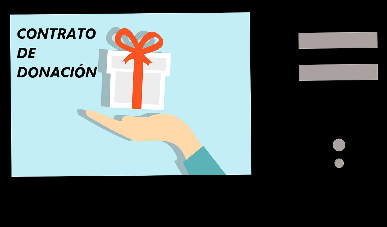 pantalla con un regalo. contrato de donación