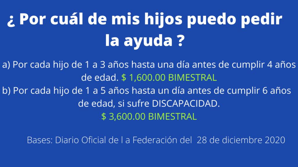 Cantidad de ayuda para padres solteros en Mexico 2021. 1,600 pesos y 3,600 pesos bimestral